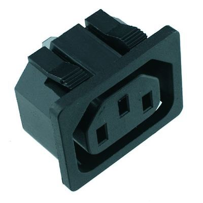 10 x C13 Snap-Fit IEC Chassis Outlet Connector Snap Fit Connector
