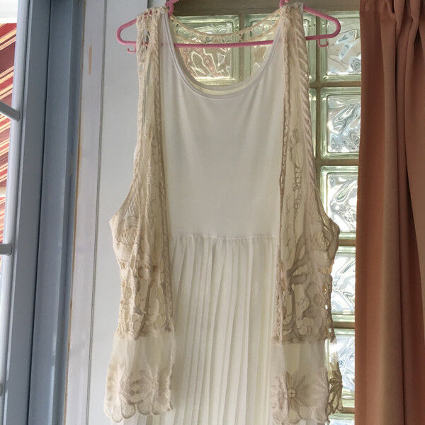 Brand New Cream Lace Vest with Butterfly Design