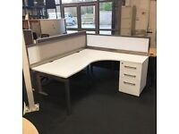 White Radial Desk with Pedestal