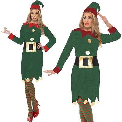 Christmas Fancy Dress Elf Costume Ladies Santa's Elf Dark Green/Red by Smiffys