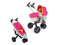 Smoby Quinny pram, silvercross highchair (Dolls) And baby carrier (Dolls)