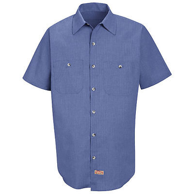 Red Kap Men's Short Sleeve Geometric Micro-Check Work Shirt - SP24 FREE SHIPPING ()