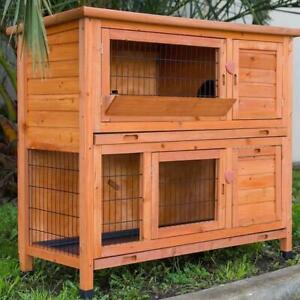 XL Double Storey Rabbit Hutch Guinea Ferret Cage W Pull Out Tray