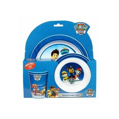 NICKELODEON PAW PATROL MEALTIME DINNER SET WITH BOWL CUP AND PLATE MICROWAVEABLE - Paw Patrol Plates And Cups