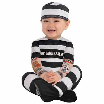 Lil' Law Breaker Baby Toddlers Prisoner Jail Fancy Dress Costume  0-6months - Toddler Jail Costume