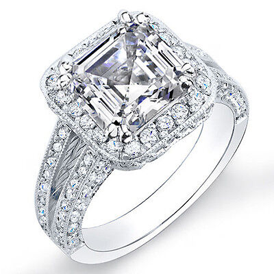 2.35 Ct. Asscher Cut Pave Diamond Halo Engagement Ring I,VS2 GIA 14K