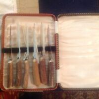 SET OF 6 SHEFFIELD STEAK KNIVES WITH STAG HANDLES