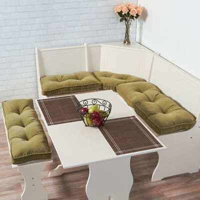 - Kitchen Dining Corner Nook Sage Cushion Set Breakfast Bench Table Furniture 4PC