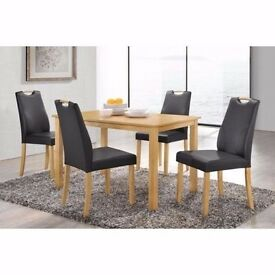 NEW PINE WOOD DINING SET/TABLE WITH 4 PU LEATHER CHAIRS