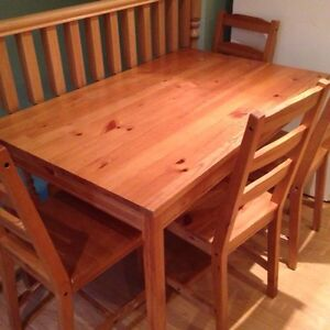 Small pine table and 4 chairs