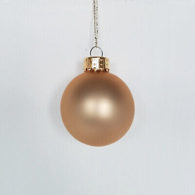 SET OF 10 GLASS MATTE SATIN FROSTED ROSE GOLD BALLS CHRISTMAS ORNAMENTS 45MM