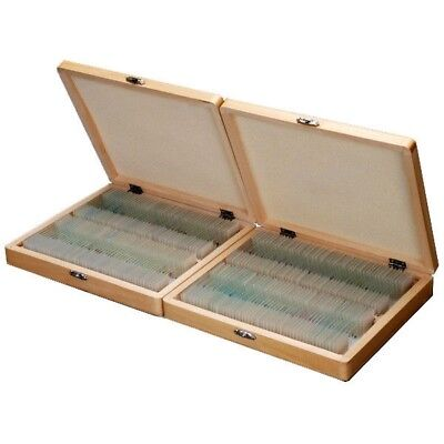 Amscope 200 Piece Set Of Prepared Microscope Glass Slides With Box Ps200