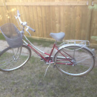 Antique Gaint 3 speed road bike with backet and back rack, 17""