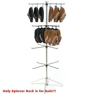 New Powder Coated Chrome Wire Spinner Rack 4 Tier With 4 Hooks 26 X 26 X 65h