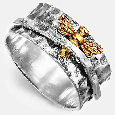 Bee Ring Spinner Sterling Silver 925 Women Handmade Hammered Band Size 6 7 8 9