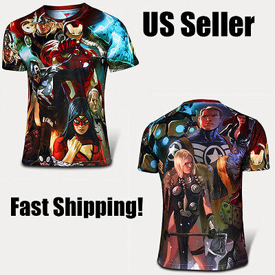Marvel Superhero Workout Cycling Tshirt Halloween Costume Capt America Avengers