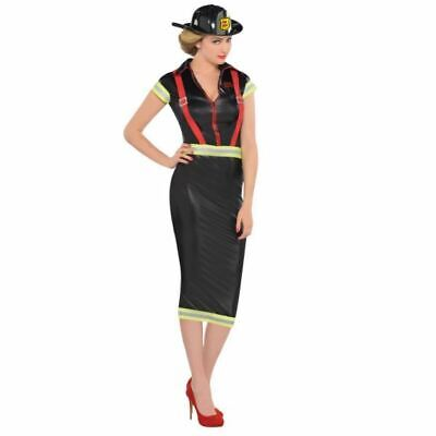 Ladies Pin Up Fire Girl Firefighter Fancy Dress Adults Uniform Costume 14-16