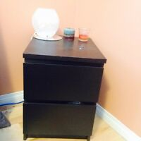 Black Queen Bed frame + drawers + chest drawers