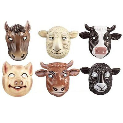 6 Farm Animal Plastic Childrens Face Masks - Fun Fancy Dress Masks