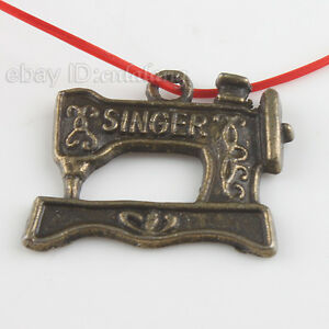 200x-Sewing-Machine-Bronze-Charms-Pendants-22mm-140379