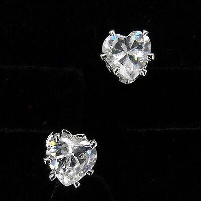 Heart Love 18K W GP Gold Plated Stud Stick Earrings Cubic Zirconia CZ Clear Cut  Cubic Zirconia Stick Earrings