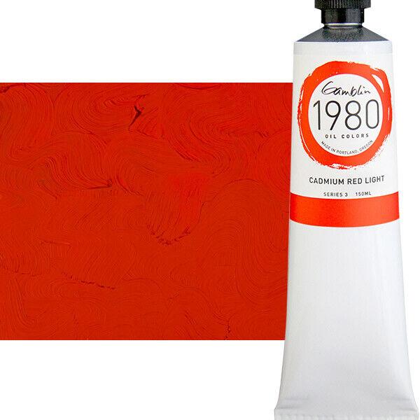 Gamblin 1980 Oil Colors 150 ml Tubes - Cadmium Red Light