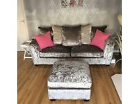 Crushed velvet three seater and two seater couch with matching pouffe