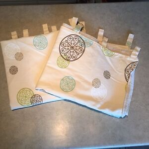 Two Cotton Beige Cloth Drapes with Fabric Loops
