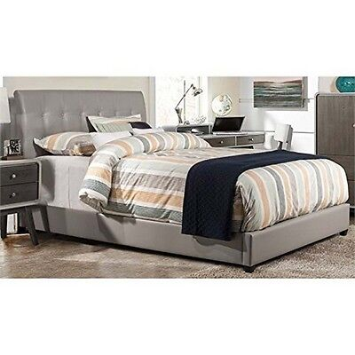 Leather Bed Set - Lusso Bed Set-King-Rails Included-Gray Faux Leather 1945BKR NEW