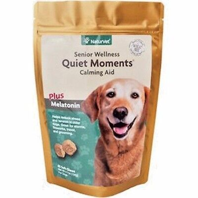 NaturVet Senior Dog Care Quiet Moments Calming Aid Stress Soft Chews, 65 count