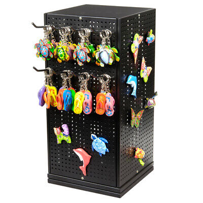 Metal Pegboard Countertop Spinner Magnet Organizer Display 50 Peg Hook Black New