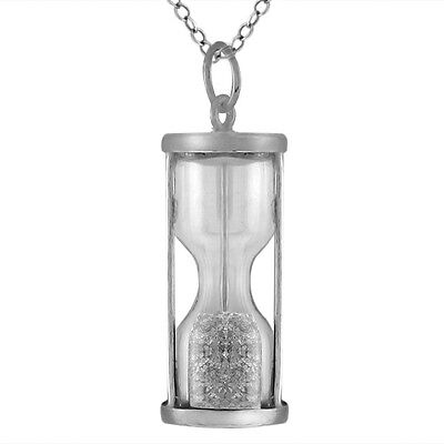 """Sterling Silver Hourglass Pendant With 0.75 Ct Natural Gemstone Dust 18"""" Chain"""