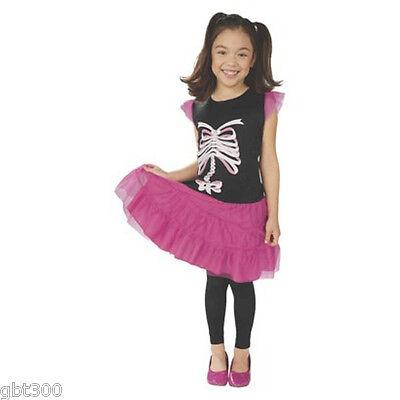 Pink Skeleton Child Costume S Small 4-6 Dress Sparkly Ribbon Halloween Punk Girl