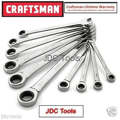 Craftsman 10 pc piece SAE Combination Ratcheting Wrench Set 12 pt NEW 7 8 14