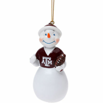 TEXAS A&M JACK FROST SNOWMAN W/ FOOTBALL RESIN ORNAMENT 3.5