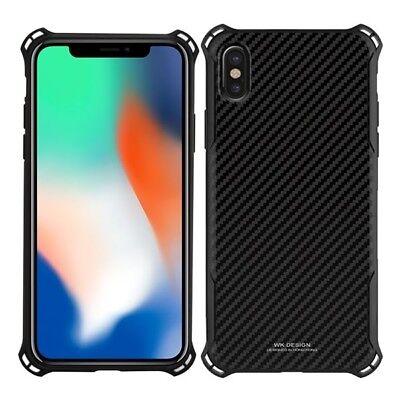 WK Hybrid Hard Plastic Silicone Carbon Fiber Design Case For iPhone X /Xs ()