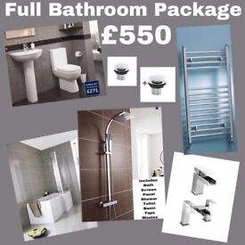 Full Bathroom Suite Package including Radiator and Shower