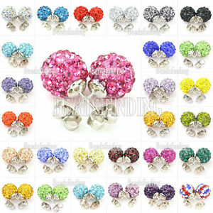 Disco-Ball-Beads-Pave-Crystal-Rhinestones-Ear-Stud-Earrings-Colourful-Wholesale