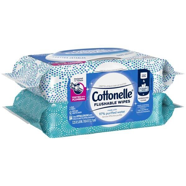 Cottonelle Flushable Hypoallergenic Wet Wipes 6 x 42 Resealable packs 252 Total