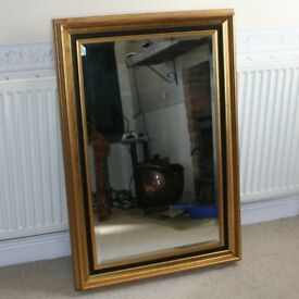 PILKINGTON QUALITY MIRROR EDWARDIAN BLACK & GOLD BEVELLED EDGE MIRROR LOVELY