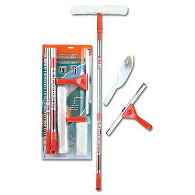 NEW TELESCOPIC 5 PIECE WINDOW CLEANING CLEANER KIT WIPE SQUEEGEE TILES