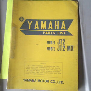 1972 Yamaha JT2 MX Parts List Regina Regina Area image 1