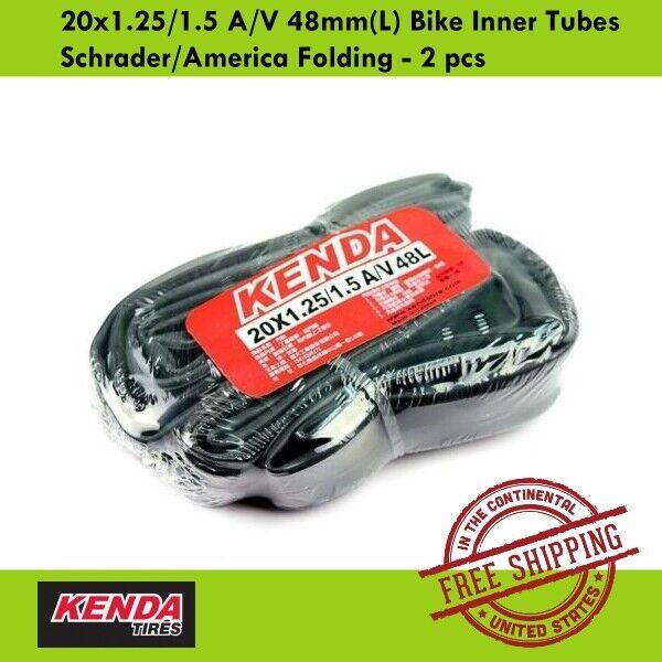 A//V Schrader//American Folding Bike Inner Tubes 2 pcs KENDA 20x1-1//8 48mm L