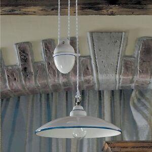 Saliscendi lampadario lampada ceramica decorata rustica - Lampadari cucina country ...
