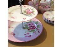 Lovely tea and cake set; two tier cake stand with cups and saucers