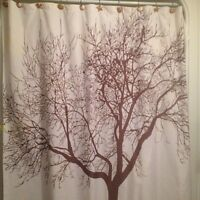 Tree shower curtain and rod