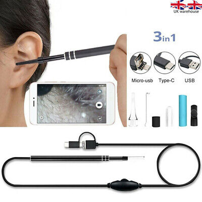 3in1 USB Earpick Mini Camera Endoscope Ear Cleaning Tool HD Visual Ear Spoon Uk