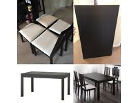 IKEA Bjursta Extendable Dining Table & 4 Borje Chairs Black / Brown And White £125 ono
