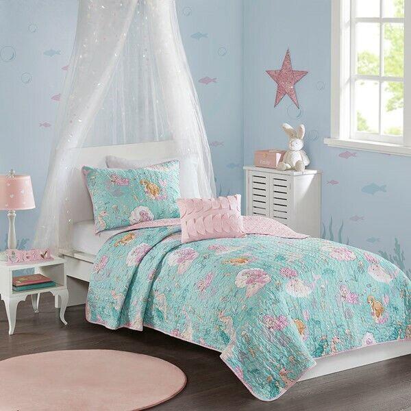 Aqua Blue & Pink Mermaid Under the Sea Girls Twin Quilt Set