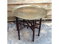 Vintage Middle East Brass tray table